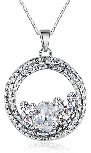 (Leafael [Presented by Miss New York] Ocean Wave Made with Swarovski Crystals Multi-Stone Clear White Circle Pendant Necklace, Silver-Tone Chain, 18