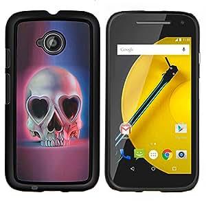 YiPhone /// Prima de resorte delgada de la cubierta del caso de Shell Armor - Amor del cráneo Corazones Ojos Azul Rosa Muerte - Motorola Moto E2 E2nd Gen