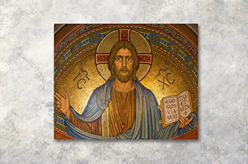 (LB Abstract Christ Canvas Wall Art for Living Room Bedroom Bathroom Framed Christian Crosses Oil Painting Canvas Prints Wall Decor Religious Home Wall Decorations Ready to Hang,20x16)