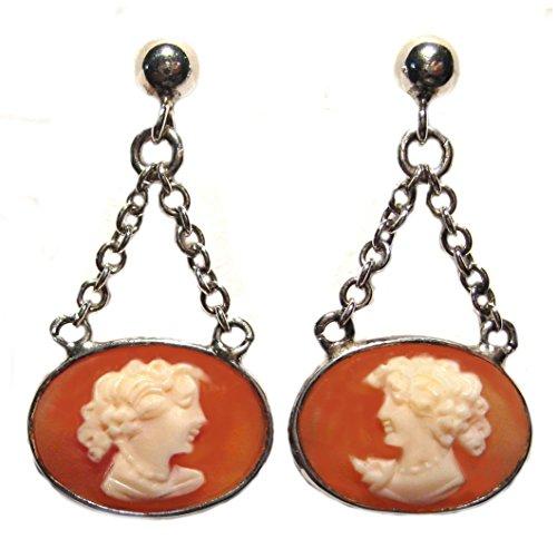Cameo Earrings Post Back Dangle Carnelian Shell Italian Master Carved