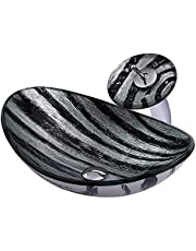 Bathroom Vessel Sink Tempered Glass Vessel Sink Above Counter Oval Sink Bowl Countertop Black and Silver Bathroom Vanity Bowl Sink with Waterfall Faucet, Pop Up Drain, 540×360×160mm