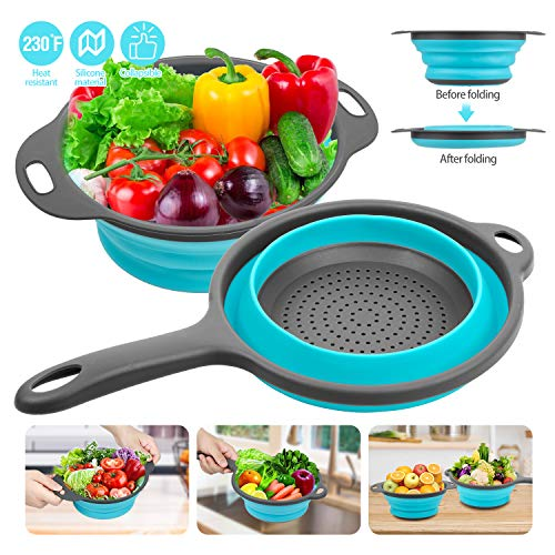 Silicone Collapsible Colander, Rareccy Kitchen Colander Strainer Set Extendable Handles Over The Sink - Silicone Folding Food Basket Strainers for Draining Pasta, Vegetable, Fruit (2 Pack)
