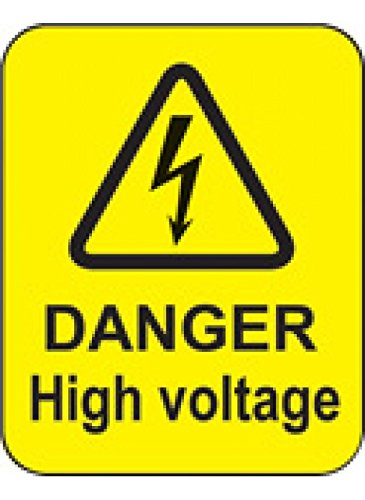 Caledonia Signs 59793 Danger High Voltage Label, 40 mm x 50 mm (Pack of 100) Caledonia Signs Ltd
