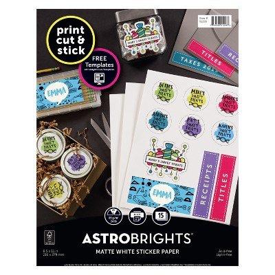 Astrobrights 15ct Matte Sticker Paper White WHITE