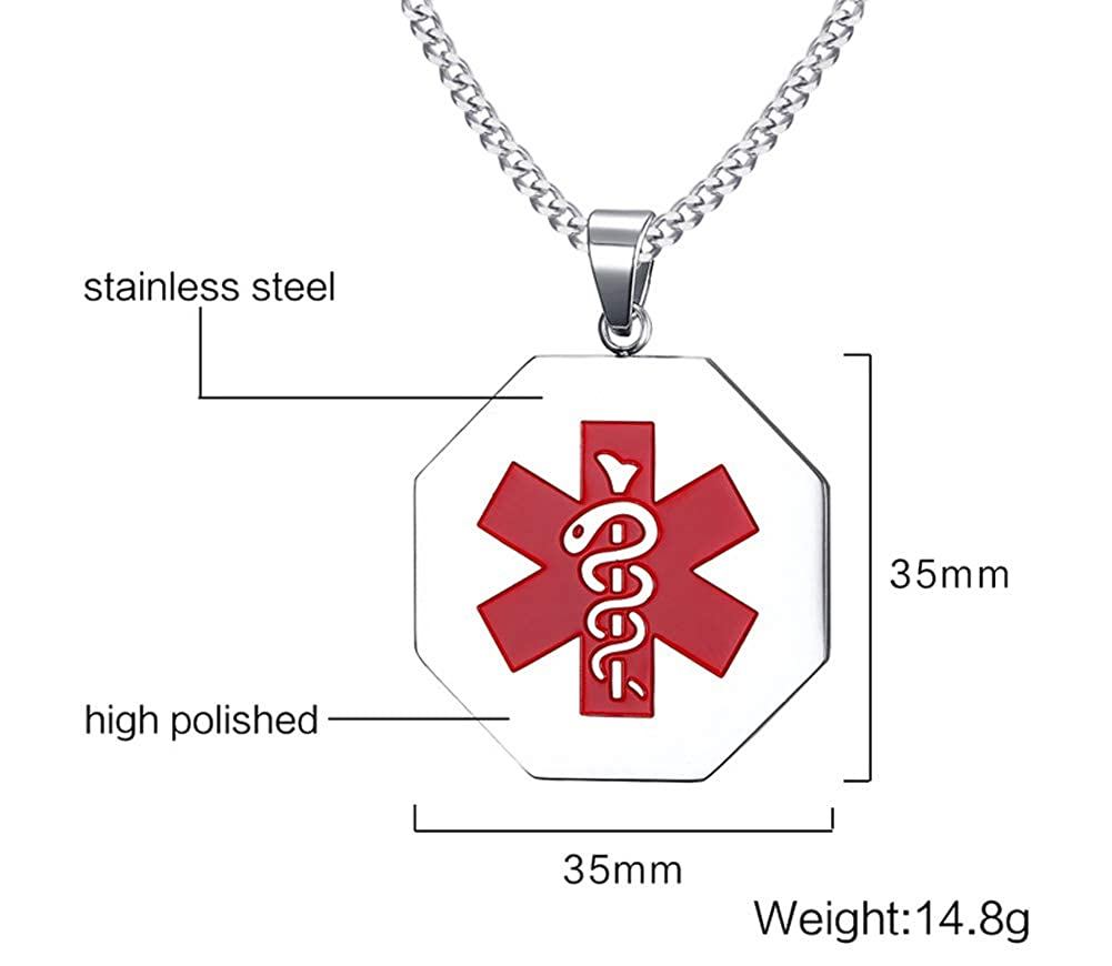 Mealguet Jewelry Free Engraving Stainless Steel Octagon Medical Alert ID Tag Pendant Necklace with 24 Chain