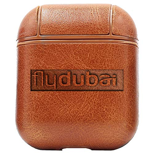 Logo Fly Dubai (Vintage Brown) Engraved Air Pods Protective Leather Case Cover - a New Class of Luxury to Your AirPods - Premium PU Leather and Handmade exquisitely by Master Craftsmen