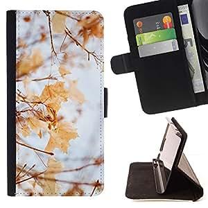 Momo Phone Case / Flip Funda de Cuero Case Cover - Otoño Invierno Otoño hojas de arce amarillo - Huawei Ascend P8 Lite (Not for Normal P8)