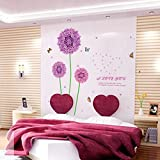 Purple Dandelion Colorful Butterflies Wall Decal Home Sticker House Decoration WallPaper Removable Living Dinning Room Bedroom Kitchen Art Picture Murals DIY Stick Girls Boys kids Nursery Baby Playroom Decoration