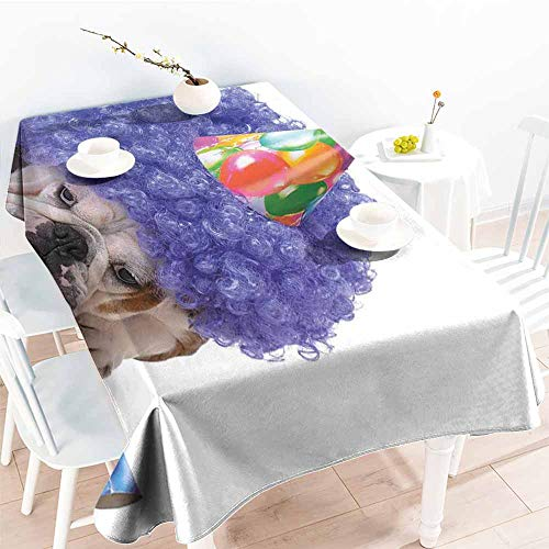 Onefzc Custom Tablecloth,Kids Birthday Boxer Dog Animal with Purple Wig with Colorful Party Cone Funny Photo Print,High-end Durable Creative Home,W60X102L Multicolor