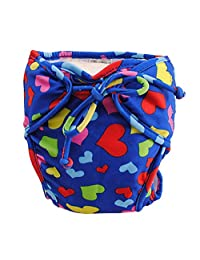 Size Medium, Adjustable Infant Swim Diaper with Ties, [Heart, Dark Blue]