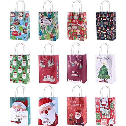 Gejoy 12 Pieces Christmas Paper Bags Goody Gifts Bags with Handle for Christmas Holiday Party Favors -