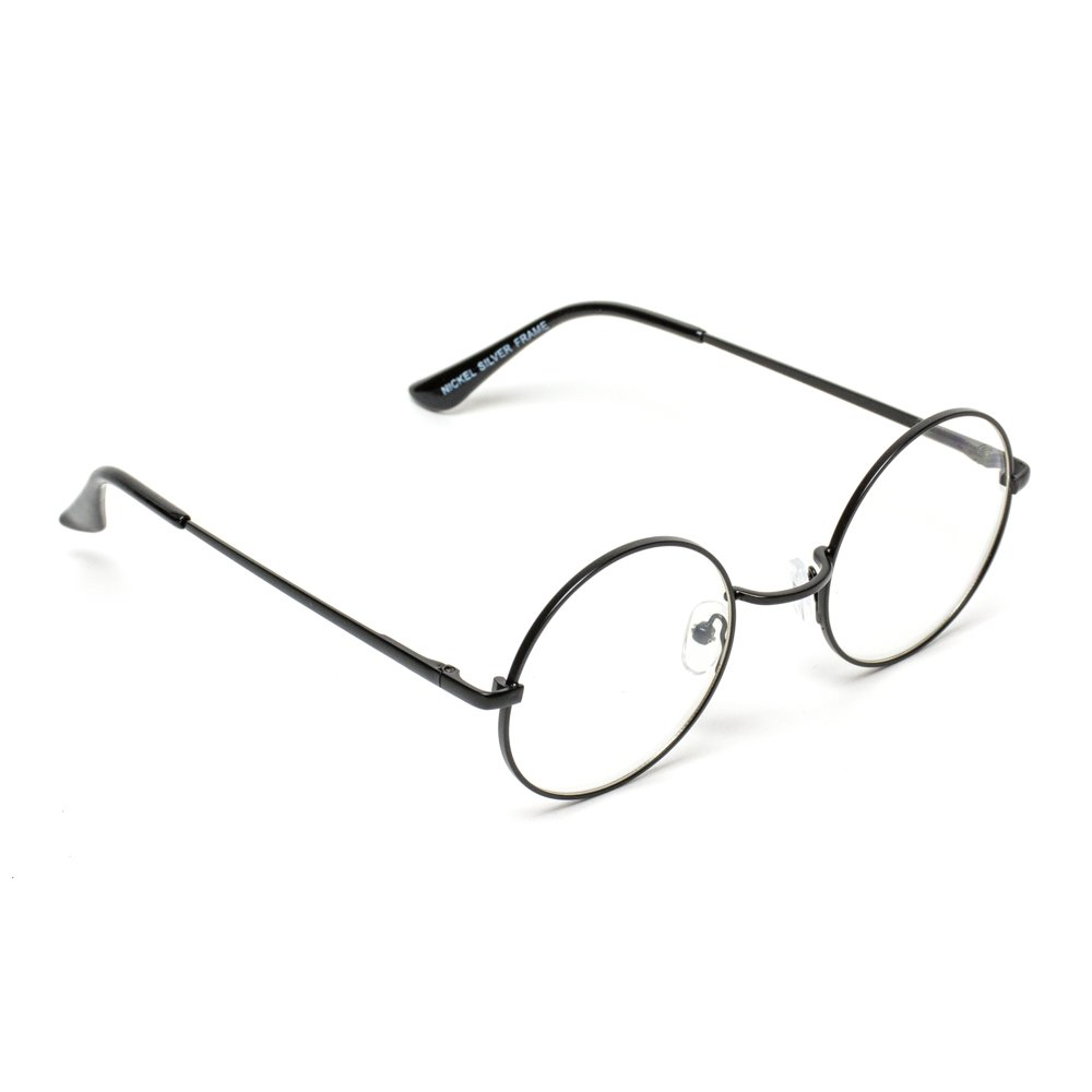 e5601c044a41 Round Clear Metal Frame Glasses (Black Frame