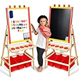 Kids Easel with Paper Roll +Free Kids Art Supplies - Double Sided Childrens Easel Chalkboard/Magnetic Dry Erase Board - Toddler Easel with Storage Bins Wooden Art Easel for Kids Painting and Drawing