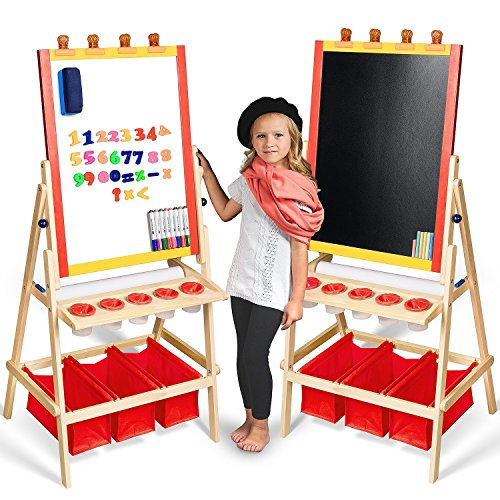 Kids Easel with Paper Roll +FREE Kids Art Supplies - Double Sided Childrens Easel Chalkboard / Magnetic Dry Erase Board - Toddler Easel with Storage Bins Wooden Art Easel for Kids Painting and Drawing]()