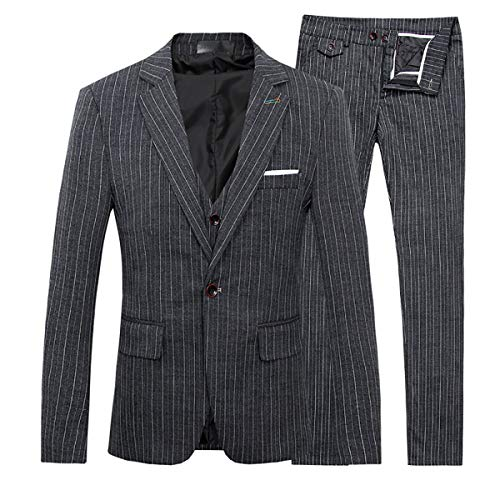Men's Stripe Center Vents One Button 3-Piece Suit Blazer Jacket Tux Vest & Trousers (Large, Black)