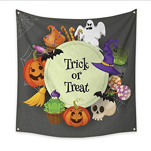 (Anniutwo Tapestry Beach Trick or Treat Traditional Sweets and Candies for Holiday Halloween Halloween Candies Isolated on White Background Retro Cartoon s Home Decorations 47W x 47L)