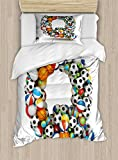 Letter Q Twin Size Duvet Cover Set by Ambesonne, Typographic Letter Font Design with Various Gaming Balls Athletic Kids Teamplay, Decorative 2 Piece Bedding Set with 1 Pillow Sham, Multicolor