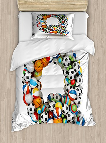 Letter Q Twin Size Duvet Cover Set by Ambesonne, Typographic Letter Font Design with Various Gaming Balls Athletic Kids Teamplay, Decorative 2 Piece Bedding Set with 1 Pillow Sham, Multicolor by Ambesonne
