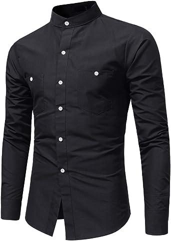 Camisa Hombre Blusa Casual Transpirable Top de Manga Larga Camisas Sin Cuello de Color Sólido Blusas de Trabajo Negro XL: Amazon.es: Ropa y accesorios