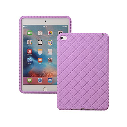 Veamor iPad Mini 4 Silicone Back Case Cover, Anti Slip Flexible Rubber Protective Skin Soft Bumper for Apple iPad Mini 4th Gen, Kids Friendly/Lightweight/Ultra Slim/Drop Proof/Shockproof (Purple)