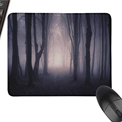 Small Mouse pad Forest,Path Through Dark Deep in Forest with Fog Halloween Creepy Twisted Branches Picture, Pink Brown Cute Mouse pad 15.7 x23.6 -
