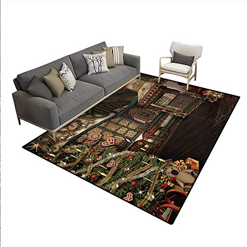 Carpet,Inner View a Xmas House Mistletoe Yuletide Winter Season Celebration Image,Print Area Rug,Taupe ()