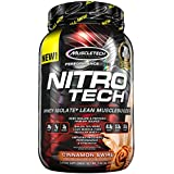 MuscleTech NitroTech Protein Powder, 100% Whey Protein with Whey Isolate, Cinnamon Swirl, 2 Pound