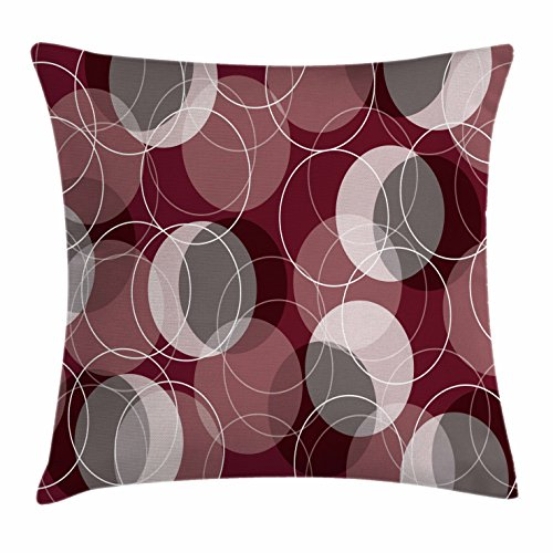 Maroon Throw Pillow Cushion Cover by Ambesonne, Retro Skinny Ring Shapes Overlapping Circles Funky Groovy Artistic Optical, Decorative Square Accent Pillow Case, 16 X 16 Inches, Maroon Peach Grey