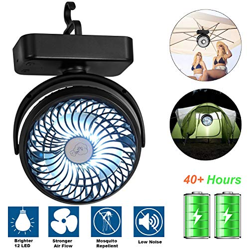 AIVANT Upgraded Camping Lantern Fan, 4400mAh Rechargable Hook-On Picnic LED Lights with Tent Ceiling Fan Outdoor Kits…