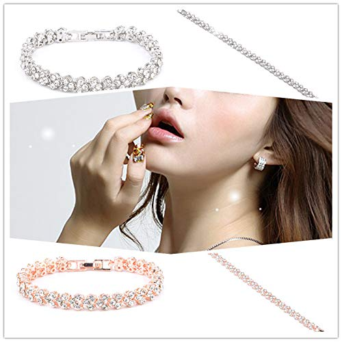 (WaiiMak Woman Plated Tennis Bracelet Made with Premium Crystals Roman Style Crystal Zircon Bracelets Gifts (Rose Gold))