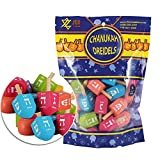 Zion Judaica Colored Wood Dreidels Medium Sized in Bulk Pack in Ziplock Bag 30 and 100 Pack Available (30)