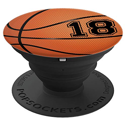 Basketball Jersey Number #18 Eighteen No 18 Game Ball PopSockets Grip and Stand for Phones and Tablets