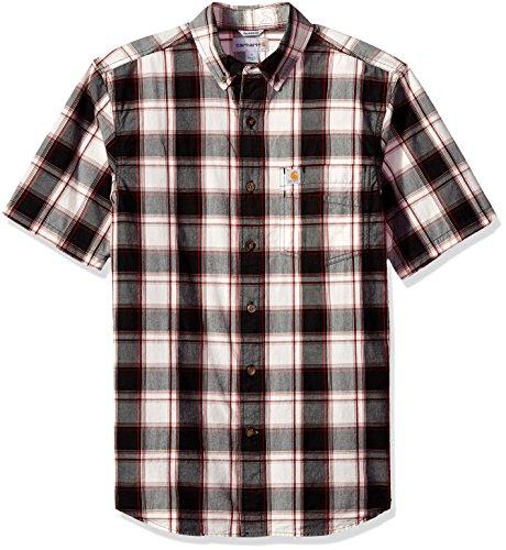 Carhartt Men's Big Essential Plaid Button Down Collar SS Shirt, Black, - Black Shirts Ss