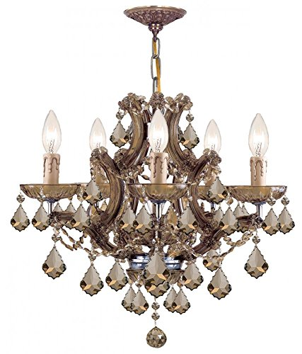 Antique Brass / Golden Teak Hand Polished Maria Theresa 5 Light Candle Style Crystal ()