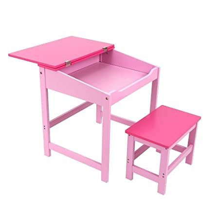 Attrayant Childrens Kids Wooden Study Home Work Writing Reading Table Desk And Stool