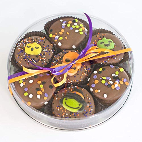 Olde Naples Halloween OREO Gift Basket, Chocolate Dipped Oreo Cookies, Hand decorated, 7 Oreo Cookies, Milk Chocolate