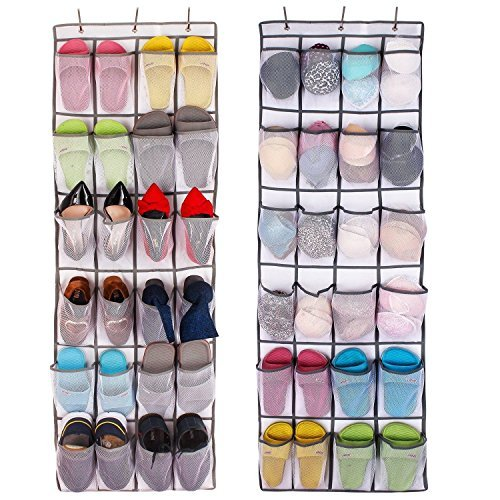 ComboCube White Large 24-Pocket Over-the-Door Hanging Shoe Organizer(one set) by ComboCube