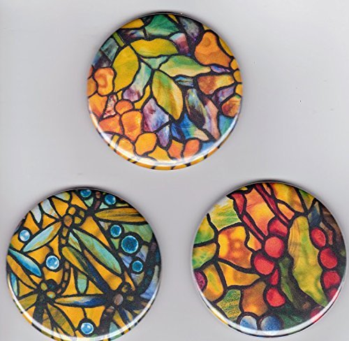 "Tiffany Stained Glass Arts & Crafts Large 2 1/4"" Decorator Fridge Magnets 2.25"" set of 3 Multi Color Floral Refrigerator Magnets Dragonfly Fruits from Artist Pines Hand Crafts & Home Decor"