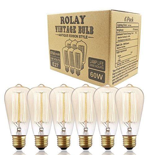 Edison Bulbs, Rolay Dimmable Industrial Pendant Filament Light Bulbs with Vintage Antique Style Design for Pendant Lighting, Wall Sconces, Ceiling Fan and Chandeliers – 370 Lumens – 6 Pack