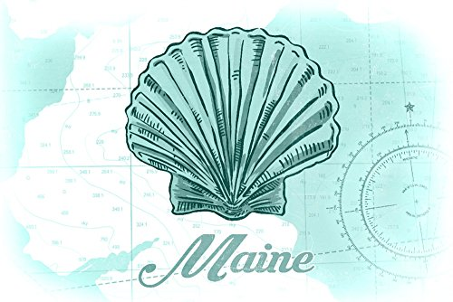 Maine - Scallop Shell - Teal - Coastal Icon (24x36 SIGNED Print Master Giclee Print w/Certificate of Authenticity - Wall Decor Travel Poster)