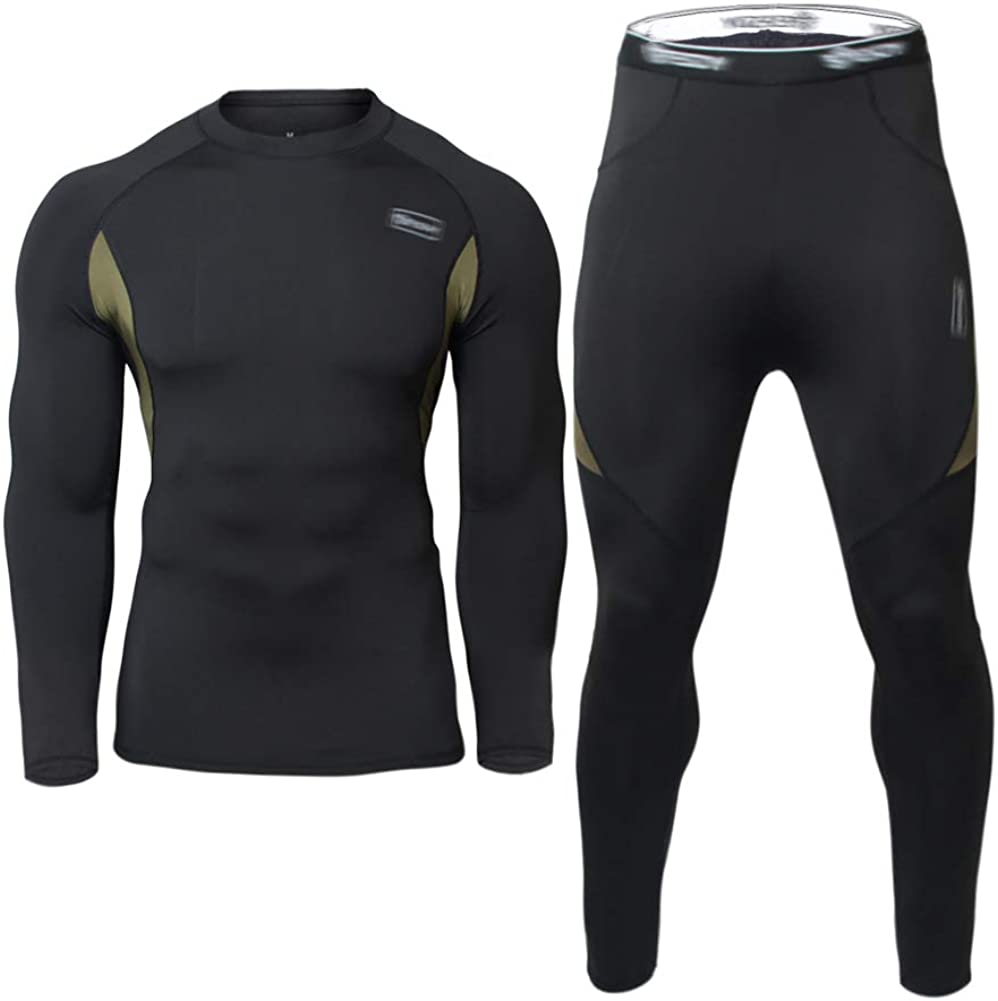 Men's Thermal Underwear Set Fleece Lined Top and Bottom Warm Long Johns Winter Sport Suits