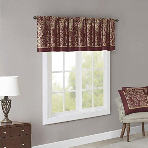 Madison Park Aubrey Jacquard Valance Rod Pocket Room Darkening Window Treatment Short Drapes for Kitchen or Bedroom Curtain, 50x18, Burgundy