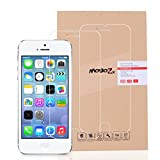 #10: iPhone 5S/SE Screen Protector, MoboZx [Premium 2 Pack] Bubble-Free, 9H Hardness with Oleophobic Coating, 0.3mm Real Tempered Glass Screen Protectors For Apple iPhone 5/5S/SE (Clear_0.3mm)