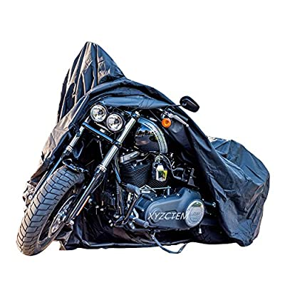 New Generation Motorcycle cover ! XYZCTEM Black XXXL Large-Best Quality Fully Waterproof Protects up to 118 inch Harley Davidson, Honda, Suzuki, Kawasaki, Yamaha from All Weather and Sun