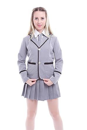 095b055020 Amazon.com: Women Japanese School Uniform Pleated Skirt Anime Costume Set:  Clothing