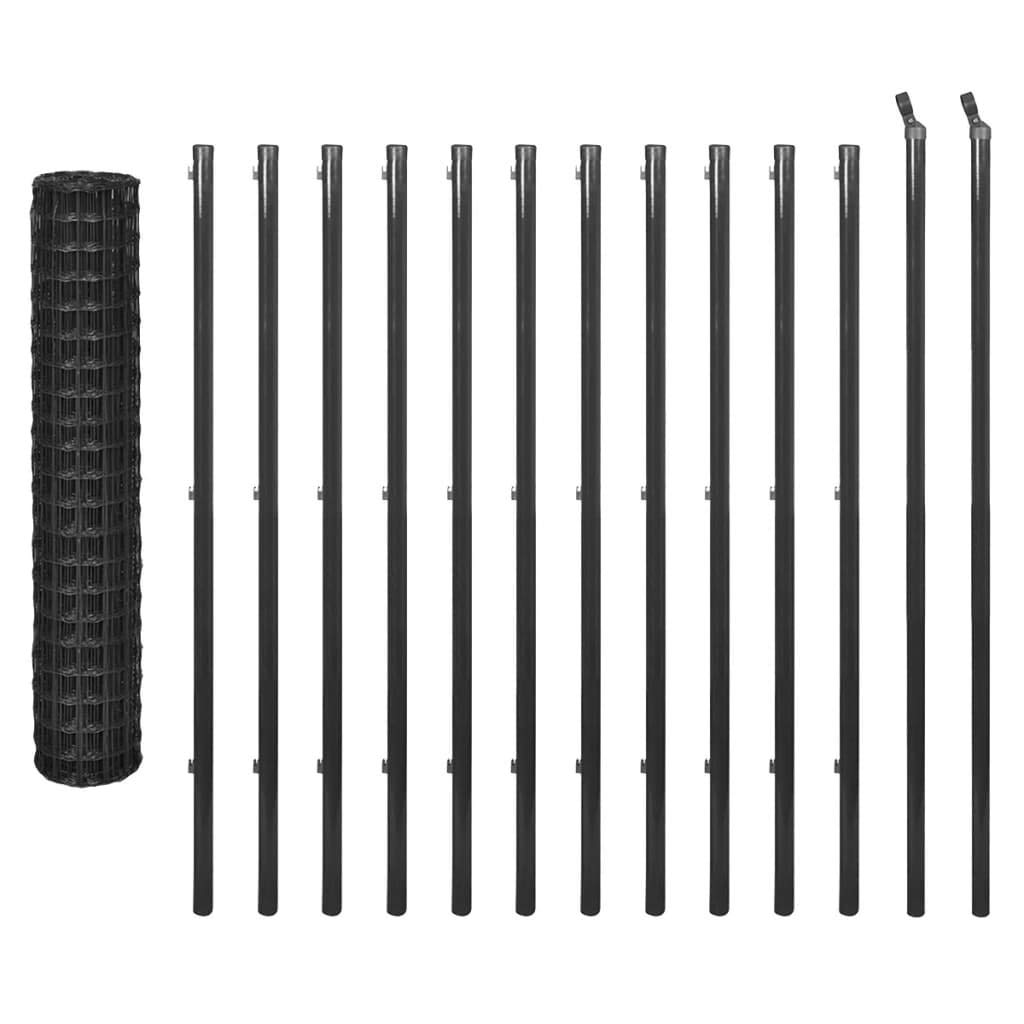 25x1.5 m Daonanba Farm Barrier for Animals, Garden Fence Set, Sturdy Steel Wire, 25x1.5 m Grey