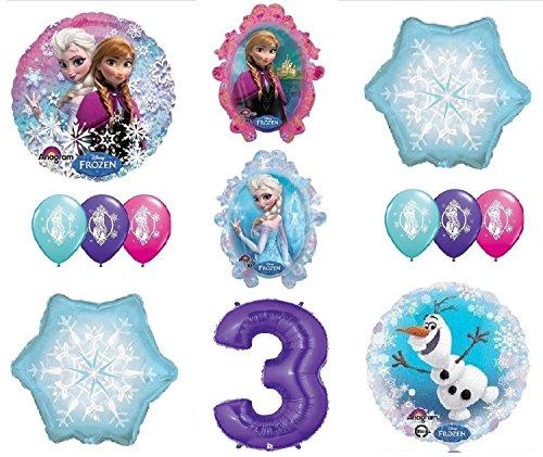 LoonBalloon FROZEN Anna ELSA OLAF Snowman Snowflake 3rd #3 12 Birthday Party Balloons Set O (Frozen Balloons Snowflake)