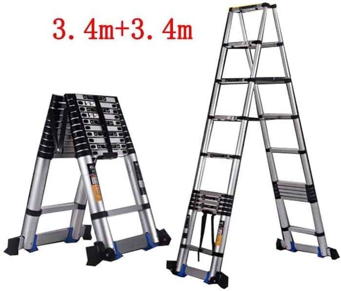 ZDTZ/L Escaleras Escalera Plegable Inicio Ingeniería telescópica Taburete Escalonado portátil de Doble Cara de aleación de Aluminio Gruesa en Espiga (Size : 3.4m+3.4m): Amazon.es: Hogar