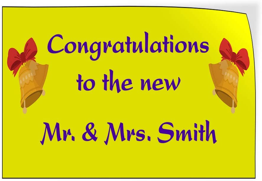 Custom Door Decals Vinyl Stickers Multiple Sizes Congrats to The New Mr and Mrs Name A Lifestyle Wedding Outdoor Luggage /& Bumper Stickers for Cars Yellow 14X10Inches Set of 10