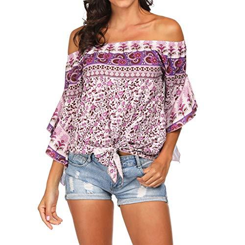 NCCIYAZ Top Womens Ethnic Boho Off Shoulder Flare Short Sleeve Shirt Ladies Beach Sunscreen Knoted -